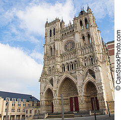 Cathedral of Our Lady of Amiens (French: Cathédrale Notre-Dame d'Amiens), or simply Amiens Cathedral, the tallest French cathedral, located in Amiens, Somme region, Picardy, France. This cathedral including all its statues were created in the 13th Century and photographed from a public standpoint, ...