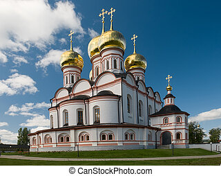 Cathedral of Our Lady of the Iberian. Valday Iversky Monastery in Valdai, Russia. Russian orthodox church