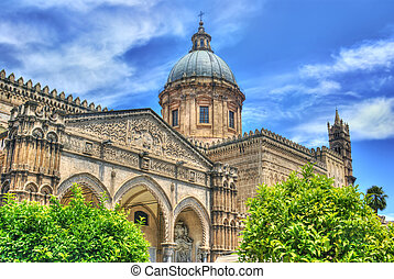 Cathedral of Palermo in hdr- Sicily - Detail of the ...