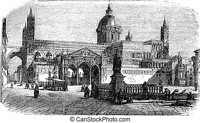 Cathedral of Palermo in Palermo Sicily Italy vintage...
