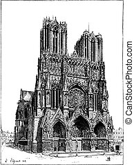 Cathedral of Reims, France, vintage engraving.