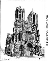 Cathedral of Reims, France, vintage engraving. - Cathedral...