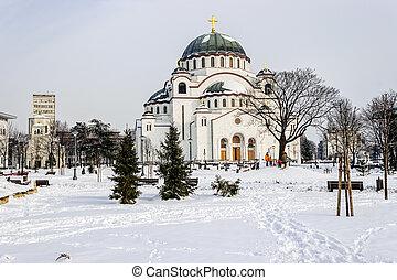 Cathedral of Saint Sava at winter, Belgrade Serbia