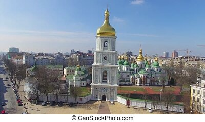 Cathedral of Saint Sophia aerial view in spring.