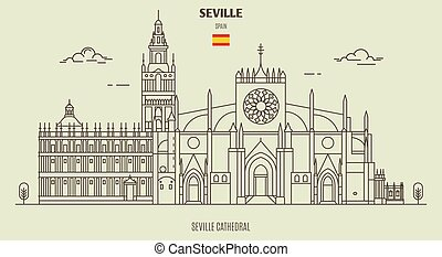 Cathedral of Seville, Spain. Landmark icon in linear style