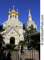 Cathedral of St. Alexander Nevsky - the main Orthodox Cathedral Ukraine in Yalta is the Crimean Peninsula