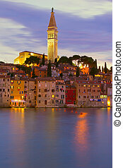 Cathedral of St. Euphemia in the old town Rovinj at night. Vertically.(Croatia, Europe)
