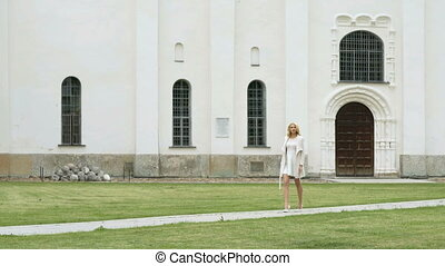 Cathedral of St. Sophia in Veliky Novgorod - Beautiful young...