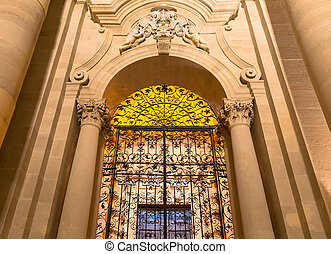 Cathedral of Syracuse entrance - Ancient Catholic church in...
