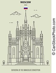 Cathedral of the Immaculate Conception in Moscow, Russia. Landmark icon in linear style