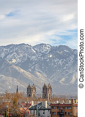 Cathedral of the Madeleine and mountain in Utah