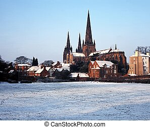 Cathedral on snowy day, Lichfield. - Lichfield Cathedral on...