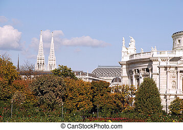 cathedral overview - Roofs and spires of the cathedral and...