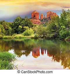 Cathedral Rock in Sedona, Arizona - The view of Cathedral...