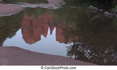 Cathedral Rock Moonrise Reflection - the full moon over...