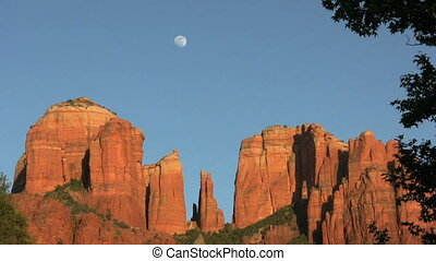 Cathedral Rock Moonrise - the full moon rises above iconic...