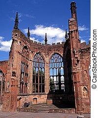 Cathedral ruin, Coventry, England. - Part of the bomb ruined...
