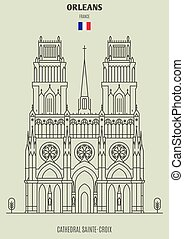 Cathedral Sainte-Croix in Orleans, France. Landmark icon in linear style