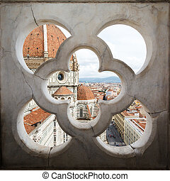 Cathedral Santa Maria del Fiore through the fence - views of...