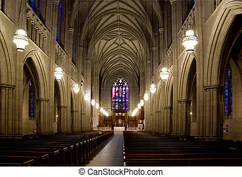 Cathedral - The inside of a large medieval cathedral.