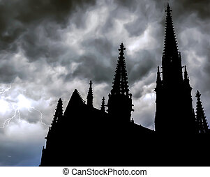 Cathedral with lightning