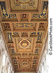 Artistic wood ceiling in a christian cathedral
