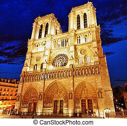 cathedral.paris., paris, notre, av, france., dame