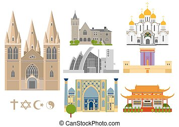 Famous Cathedrals flat icons