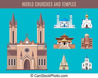 Cathedrals, churches and mosques building vector set