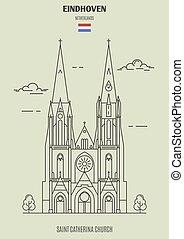 catherina, eindhoven, 聖者, 教会, ランドマーク, netherlands., アイコン