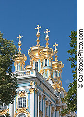 Catherine Palace in czar village of St Petersburg, Russia - ...