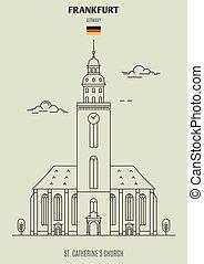 catherine's, église, germany., francfort, repère, icône, rue.