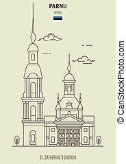 catherine's, repère, icône, estonia., parnu, église, rue.