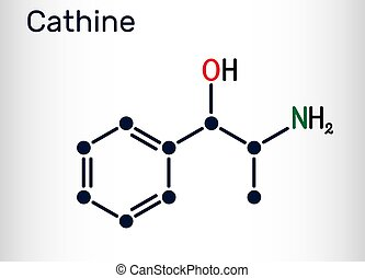 Cathine, norpseudoephedrine, C9H13NO molecule. It is ...