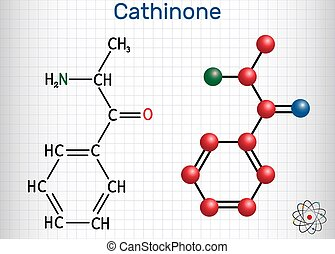 Cathinone, benzoylethanamine, beta-keto-amphetamine, C9H11NO...