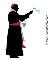 Catholic bishop sprinkling holy water - Illustration of a...