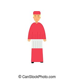 Catholic cardinal in red robe character, religion representative vector Illustration