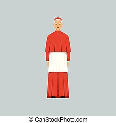 Catholic Cardinal in red robe, representative of religious confession vector Illustration