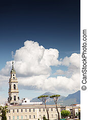 Catholic cathedral tower in Pompei
