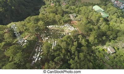 Catholic cemetery in the Philippines. - Aerial view of...