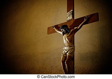 Catholic church and Jesus Christ on crucifix - Catholic...