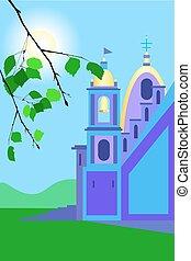 Catholic church colored on sunny day
