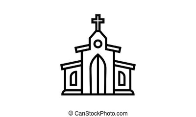 Catholic church icon animation best object on white background