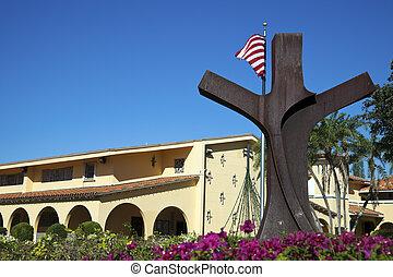 Catholic church - Key Biscayne, Florida, USA. Seen morning, ...