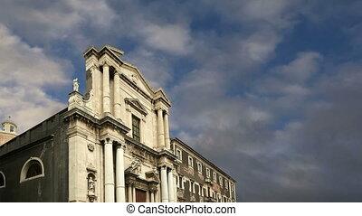 Catholic church of Catania. Sicily, southern Italy. Baroque...