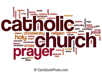 Catholic church word cloud concept
