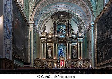 Catholic church's altar in Quito, Ecuador