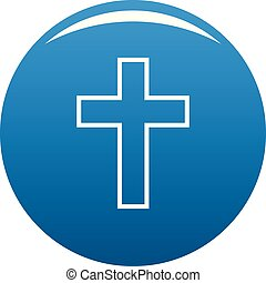 Catholic cross icon blue vector - Catholic cross icon vector...