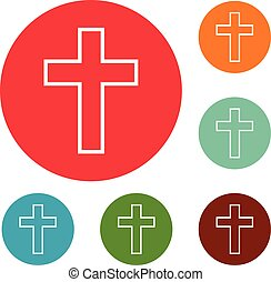 Catholic cross icons circle set vector isolated on white...