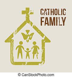 catholic family over beige background. vector illustration